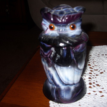 imperial slag glass owl container - Glassware