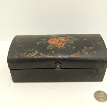 Pre 1900 Tin Box with Hand Painted Roses - Sewing