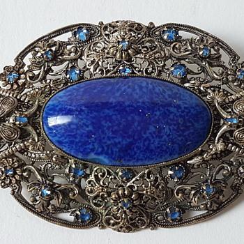 Lapis lazuli brooch 75 stamp? - Costume Jewelry