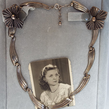 Mom's 1940's Austrian Silver Collar Styled Necklace & Earrings - Fine Jewelry