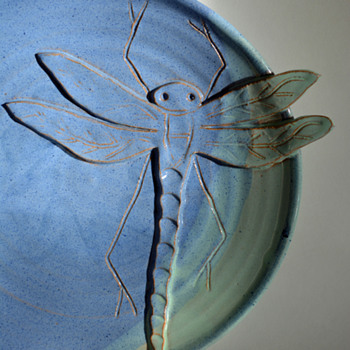 A Dragonfly  landed on my plate - Art Pottery