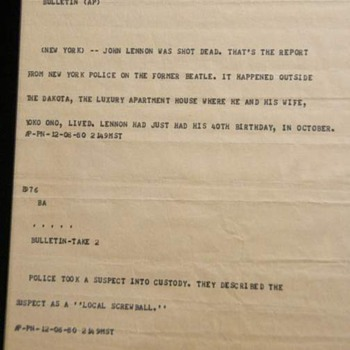 John Lennon news bulletin-1980...
