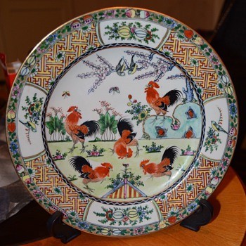 Five roosters plate - Asian