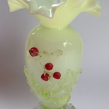 Victorian cased uranium glass vase with applied berries - Art Glass