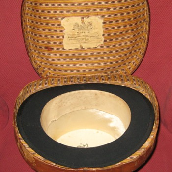 Interior of Victorian Leather Top Hat Case