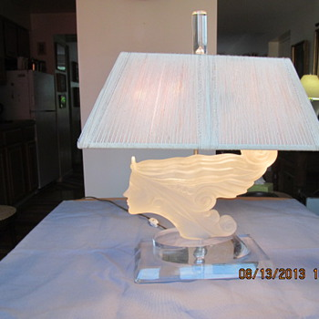 Crystal Glass Art Lamp  (similar to works of Rene Lalique)
