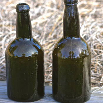 1850's Black Glass Beer Bottles