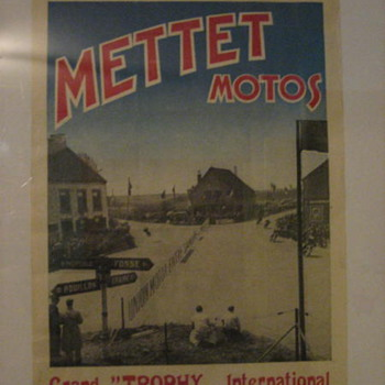 1952 European METTETMOTOS Motorcycle Race Poster - Posters and Prints
