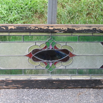 Antique Stained Glass Transom Window - Refinished - Art Glass
