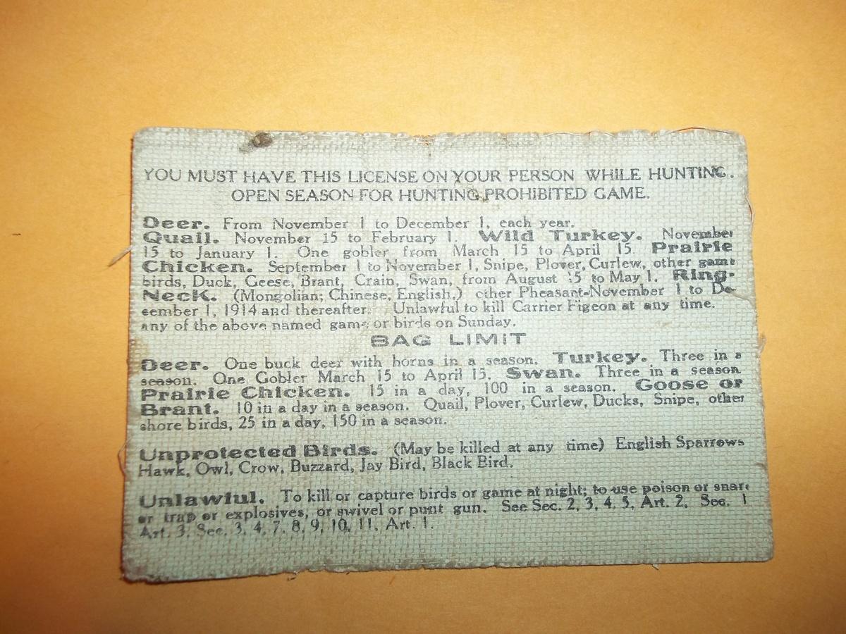 1909 oklahoma hunting license 1949 irish sweepstakes for Fishing license oklahoma