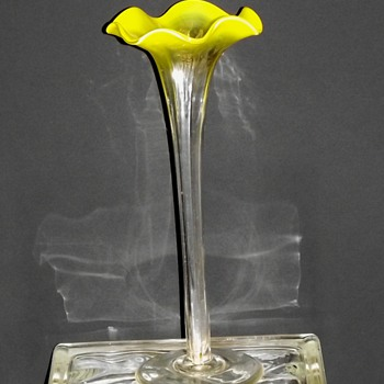 Mystery Yellow Opalescent Panelled Bud Vase  - Art Glass