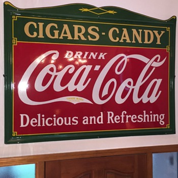1930s COCA COLA CIGARS & CANDY PORCELAIN SIGN - Coca-Cola