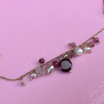 4 efesgirl 9ct necklace 20ct+ hoops uncut Ruby and pearl necklace antique - Fine Jewelry