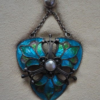 Liberty & Co. silver enameled Arts & Crafts necklace, England c. 1900 - Fine Jewelry
