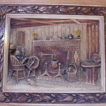 "Antique Picture~Entitled ""Peaceful Hours"" - Art Pottery"