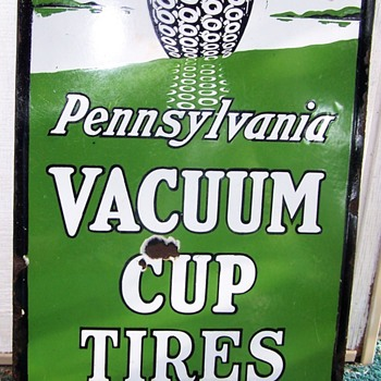 Pennsylvania Vacuum Cup Tire sign pre 1920