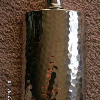 Vintage Hammered Tin-Lined Flask ~ West Germany - Bottles