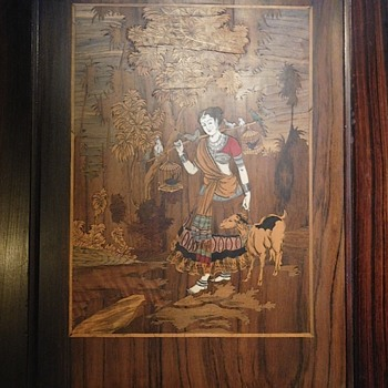 Wood and Ivory inlaid picture in frame