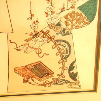 1886 woodblock print, Tanjiro Nakojima Kimono Pattern - Asian