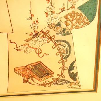 1886 woodblock print, Tanjiro Nakojima Kimono Pattern