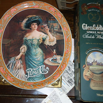 pepsi cola tray and whisky tin - Advertising