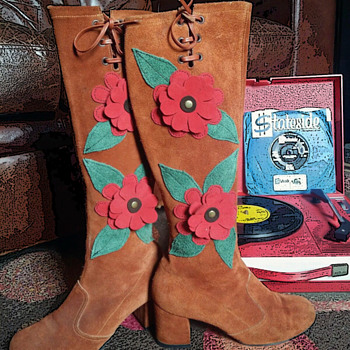 #40 ~ Two Pair Vintage Go-Go Boots + #41 Peter Max Fabric Display