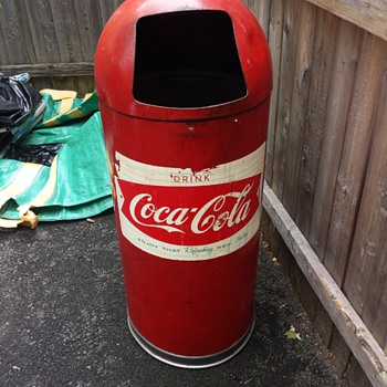 Scored Coca Cola Garbage Can
