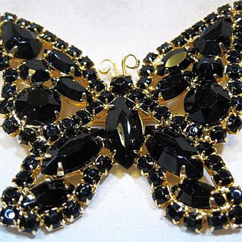 Large Fantastic Black Butterfly Brooch - Costume Jewelry