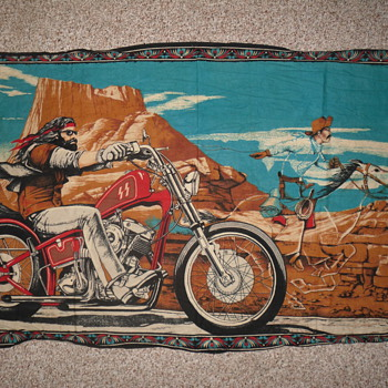 Old cloth of biker lightning bolts very old! - Rugs and Textiles