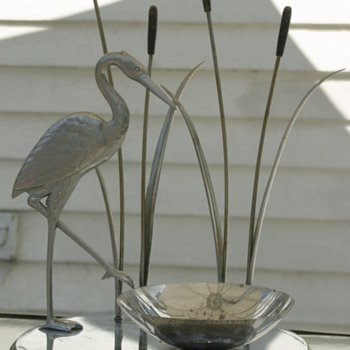 Mid Century Modern chrome Heron table centerpiece - what is it and who made it?
