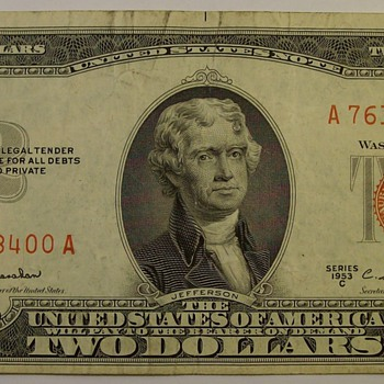 Old $2.00 United States Notes & Federal Reserve Notes 1953, '63 & '76 - US Paper Money