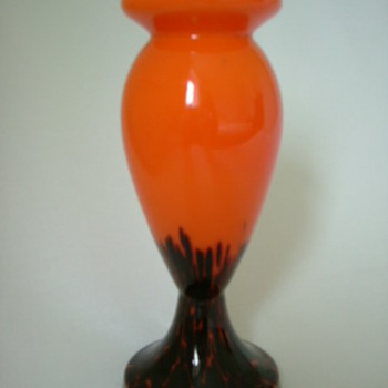 Czech Art Deco Ruckl Spatter Glass Vase