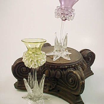 British ~ Thistle ~ Floriform Art Glass Vases - Art Glass