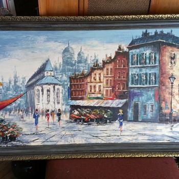 Huge Paris Painting.. - Mid-Century Modern