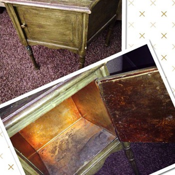 Copper Lined Vintage Humidor/Smoking Stand