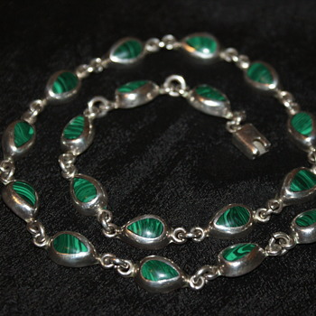 Mexican 925 Vintage Malachite Necklace - Fine Jewelry