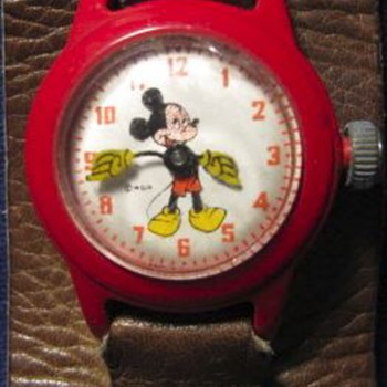Mickey Mouse Watch c1950s - red plastic casing (no band or packaging) - Wristwatches