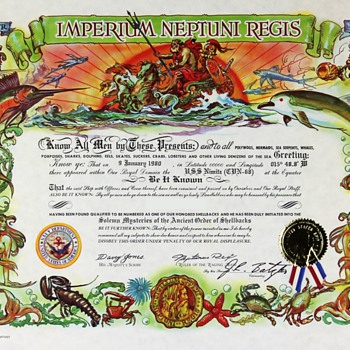 USN Shellback Certificates from 1970s - Military and Wartime