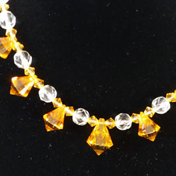 Vintage amber glass beads restrung with charity shop necklace
