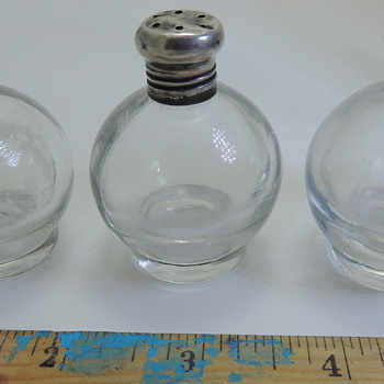 3 Glass Spice Jars - Sterling lids - Kitchen