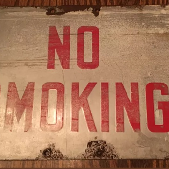 Old Vintage Heavy Porcelain NO SMOKING Sign - Signs