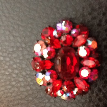 Sherman script signed red brooch with japanned setting - Costume Jewelry