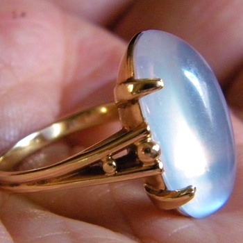 Vintage Deco Moonstone F&F Felger 14k Ring 22 x 10mm - Fine Jewelry