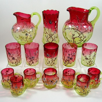 Phoenix Glass Rubina Verde Inverted Thumbprint Enameled Glass - Art Glass
