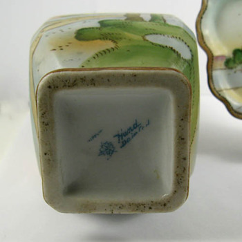 Backstamps of my flea market treasure and flower vase - Asian