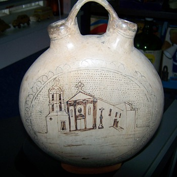 Old Vintage Canteen Jug - Art Pottery