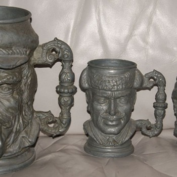 Super Heavy GERMAN Antique Pewter Steins - Beer, Wine, & Shot