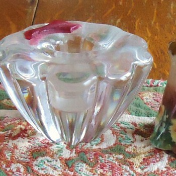 old glass candlesticks and Bavaria salt and pepper