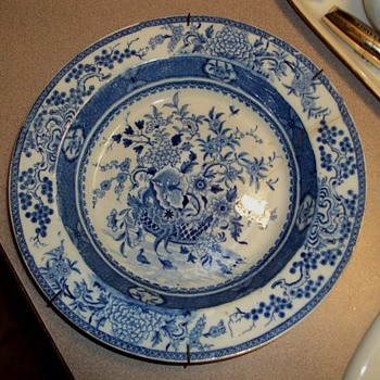 "Blue & White c1820 Bathwell & Goodwin Basket & Flowers.""   - China and Dinnerware"