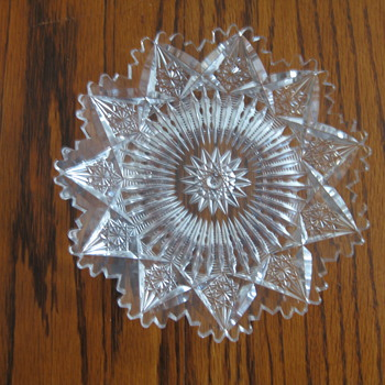 "Hendecagon Cut Glass Plate (6"" across) - Glassware"